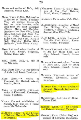 """Maghdud Khel, Mahmud Khel and Mahsud Khel - Sub-divisions of Kakazai - Page 29 - in """"A Dictionary of the Pathan Tribes of the North West Frontier of India"""" - Published by The General Staff Army Headquarter, Calcutta, British India (Originally Published 1910)"""