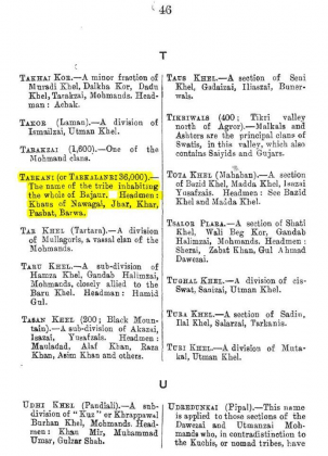 """Tarkani or Tarkalanri - Grandfather of Kakazai - Page 46 - in """"A Dictionary of the Pathan Tribes of the North West Frontier of India"""" - Published by The General Staff Army Headquarter, Calcutta, British India (Originally Published 1910)"""