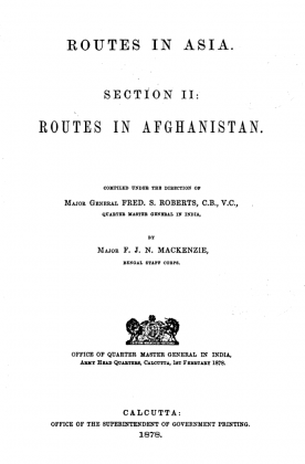 """Kakazai in """"Routes in Asia - Section II - Routes in Afghanistan"""" (Originally Published in 1878)"""