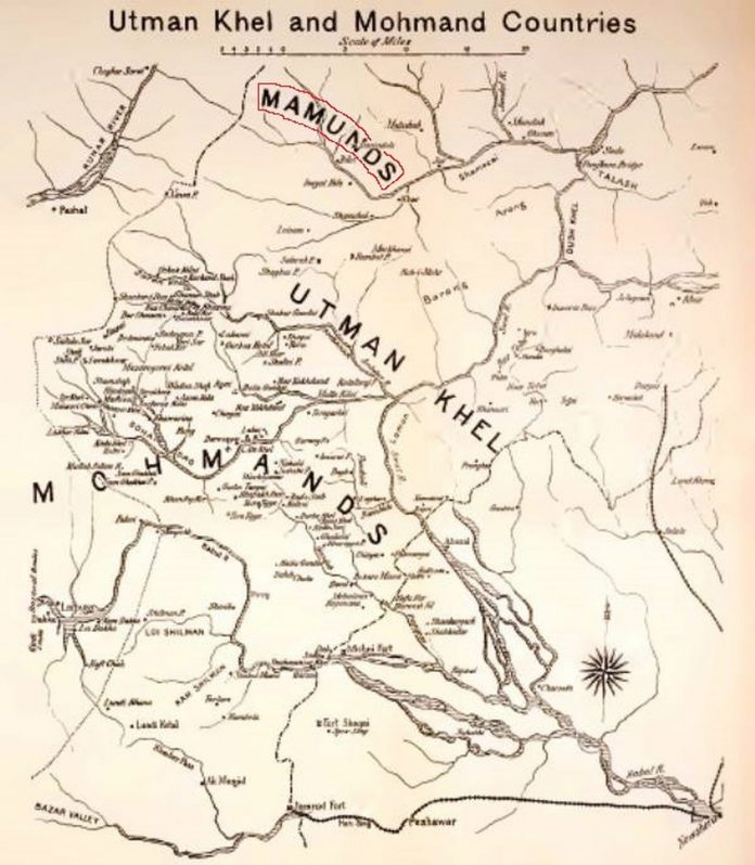 Maps - Mamunds in Utman Khel and Mohmand Counties Map - From the Black Mountain to Waziristan - by Colonel H. C. Wylly - Published in 1912